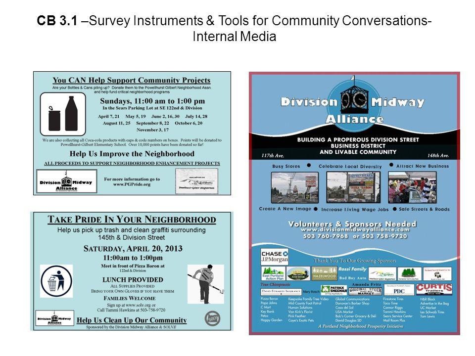 CB 3.1 –Survey Instruments & Tools for Community Conversations- Internal Media