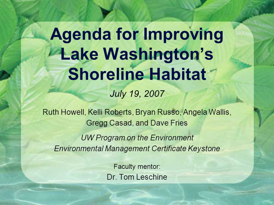 Agenda for Improving Lake Washington's Shoreline Habitat July 19, 2007 Ruth Howell, Kelli Roberts, Bryan Russo, Angela Wallis, Gregg Casad, and Dave Fries UW Program on the Environment Environmental Management Certificate Keystone Faculty mentor: Dr.