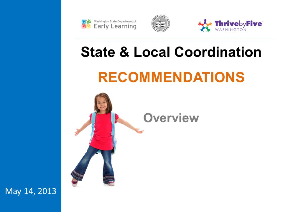 Historic work of local and regional coalitions State Early Learning Plan Strategies #21, 34 & 35 Create formal pathways for parent participation Build Statewide Infrastructure for Partnerships & Mobilization Strengthen Public Awareness and Commitment Federal Grant Commissioning States to Articulate How Systems Will Be Strengthened across Localities, Region and State Origins Project Purpose: Strengthen how different parts of early learning system work together to support children.
