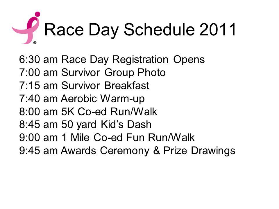 Race Day Schedule 2011 6:30 am Race Day Registration Opens 7:00 am Survivor Group Photo 7:15 am Survivor Breakfast 7:40 am Aerobic Warm-up 8:00 am 5K Co-ed Run/Walk 8:45 am 50 yard Kid's Dash 9:00 am 1 Mile Co-ed Fun Run/Walk 9:45 am Awards Ceremony & Prize Drawings