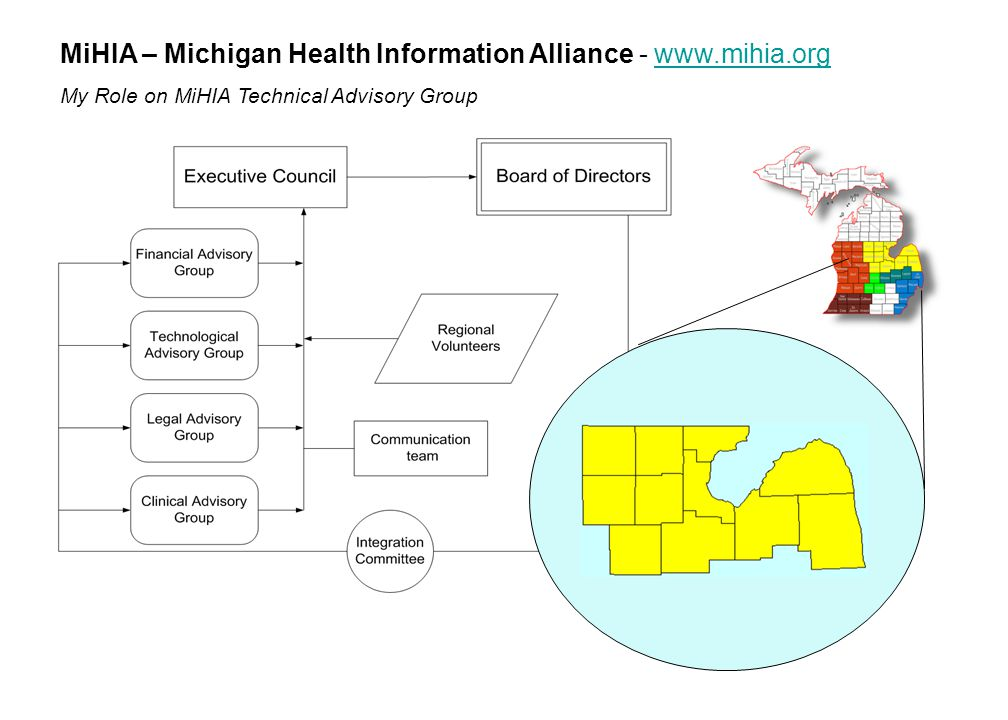 MiHIA – Michigan Health Information Alliance - www.mihia.orgwww.mihia.org My Role on MiHIA Technical Advisory Group