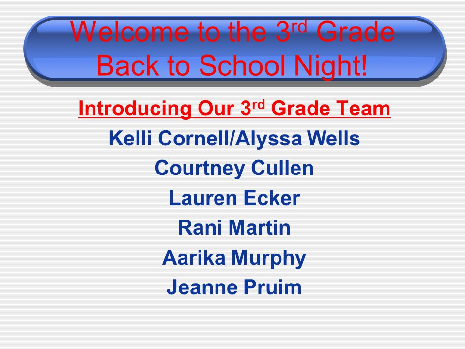 Welcome to the 3 rd Grade Back to School Night.