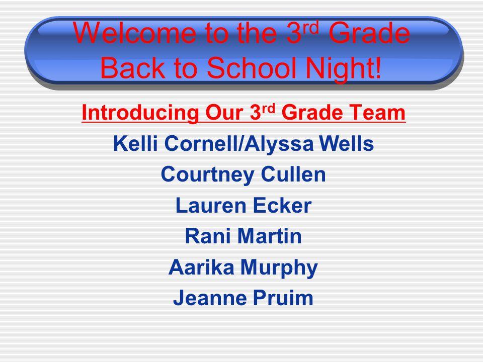 Welcome to the 3 rd Grade Back to School Night! Introducing Our 3 rd Grade Team Kelli Cornell/Alyssa Wells Courtney Cullen Lauren Ecker Rani Martin Aa