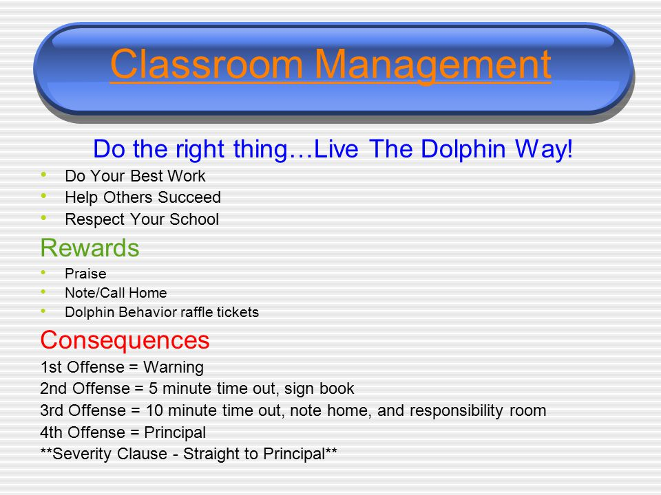 Classroom Management Do the right thing…Live The Dolphin Way! Do Your Best Work Help Others Succeed Respect Your School Rewards Praise Note/Call Home