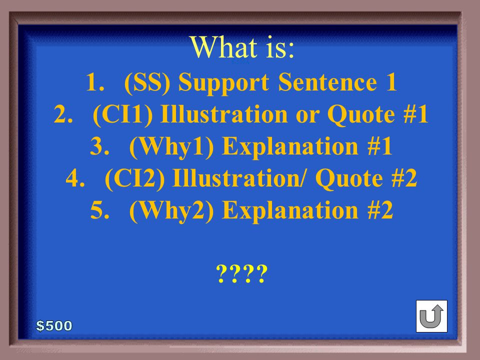 6-500 What was the structural skeleton of the FIRST BODY PARAGRAPH for the any Expository or Persuasive Essay.