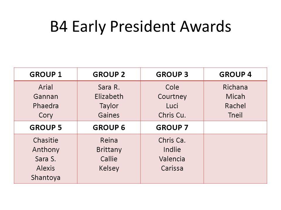 B4 Early President Awards GROUP 1GROUP 2GROUP 3GROUP 4 Arial Gannan Phaedra Cory Sara R.