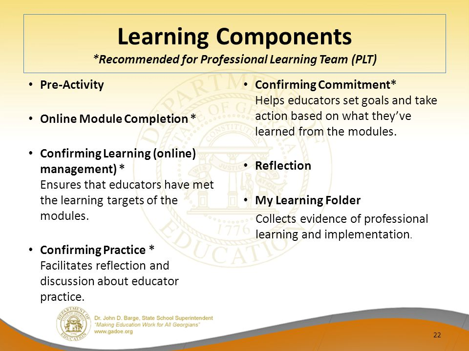 Learning Components *Recommended for Professional Learning Team (PLT) Pre-Activity Online Module Completion * Confirming Learning (online) management)
