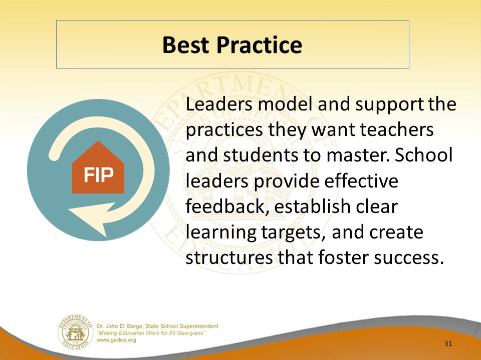 Best Practice Leaders model and support the practices they want teachers and students to master. School leaders provide effective feedback, establish