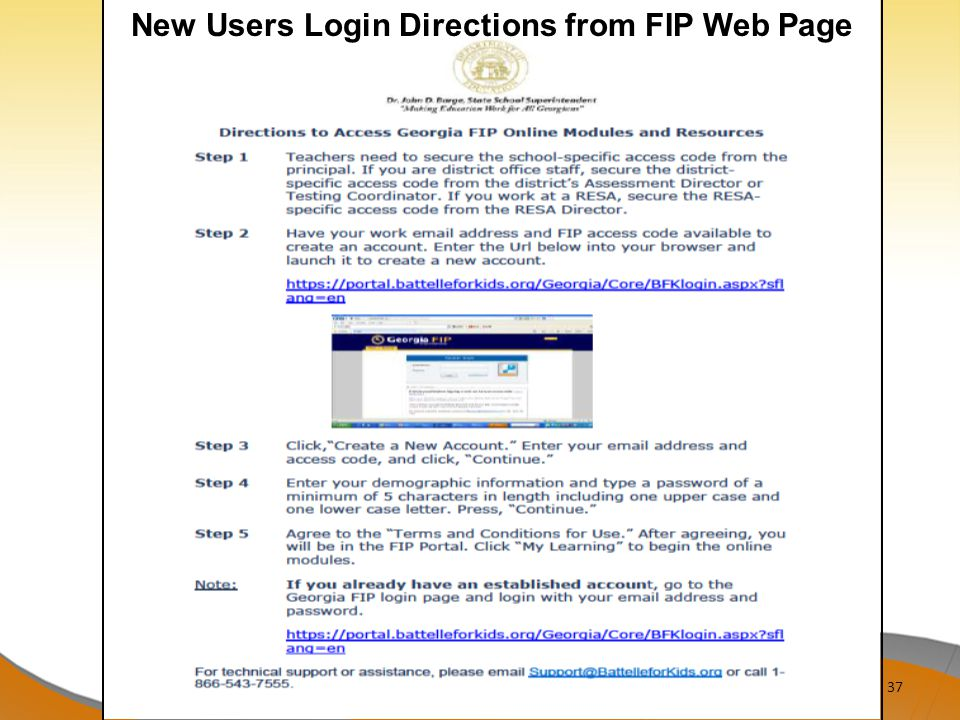 37 New Users Login Directions from FIP Web Page