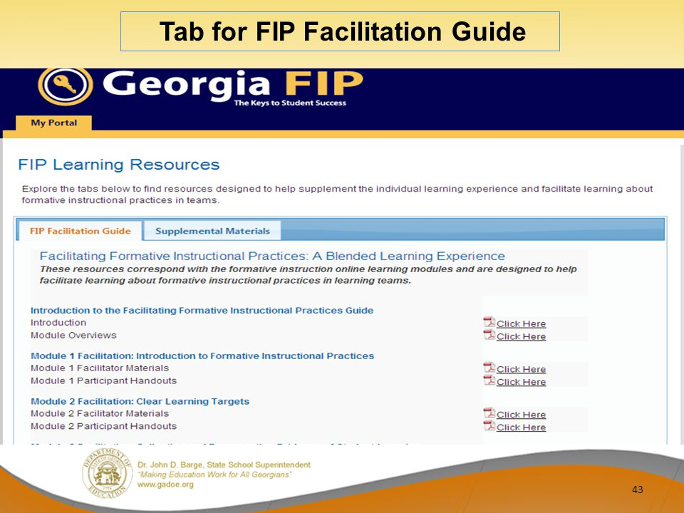 43 Tab for FIP Facilitation Guide