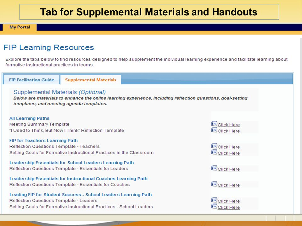 44 Tab for Supplemental Materials and Handouts