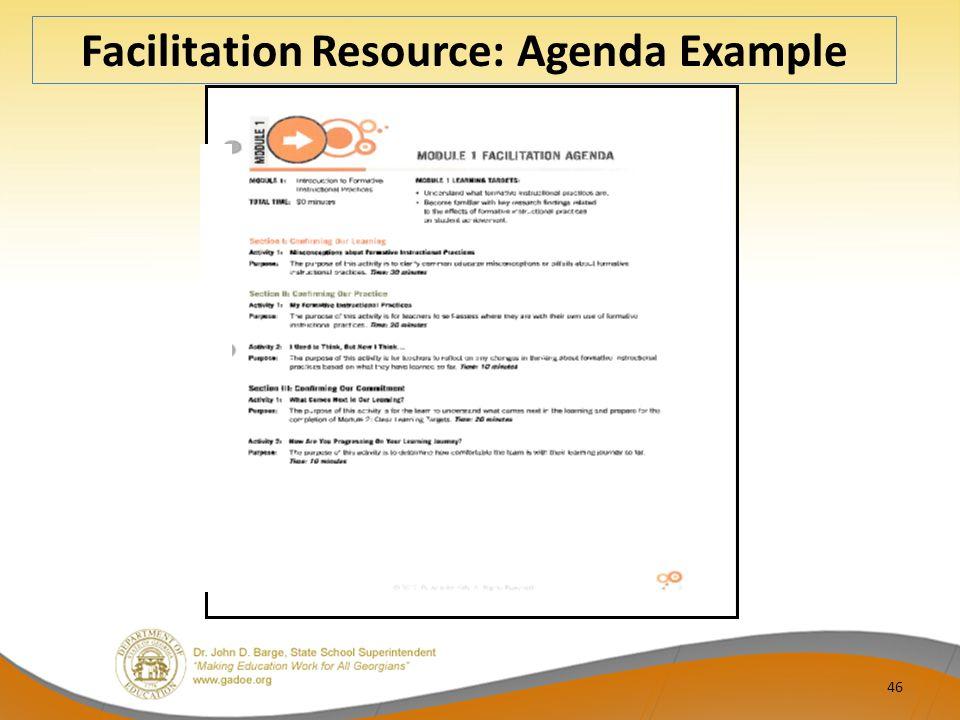 46 Facilitation Resource: Agenda Example
