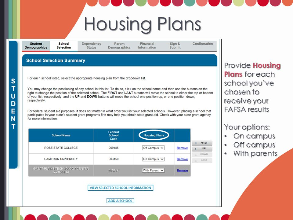 Housing Plans Provide Housing Plans for each school you've chosen to receive your FAFSA results Your options: On campus On campus Off campus Off campu