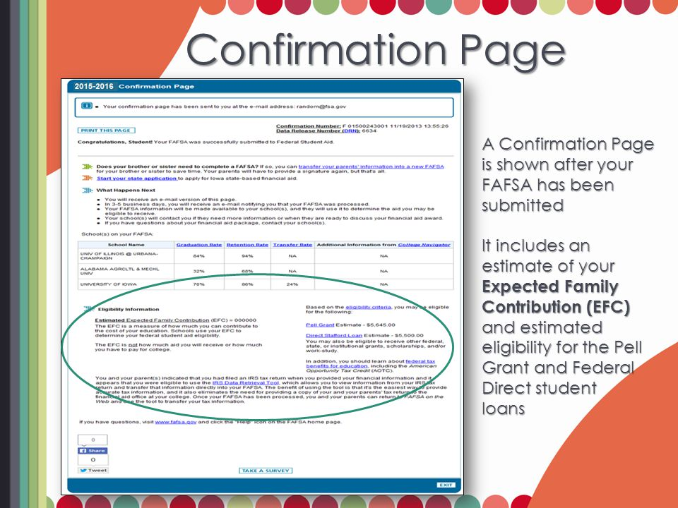 Confirmation Page Confirmation Page A Confirmation Page is shown after your FAFSA has been submitted It includes an estimate of your Expected Family C