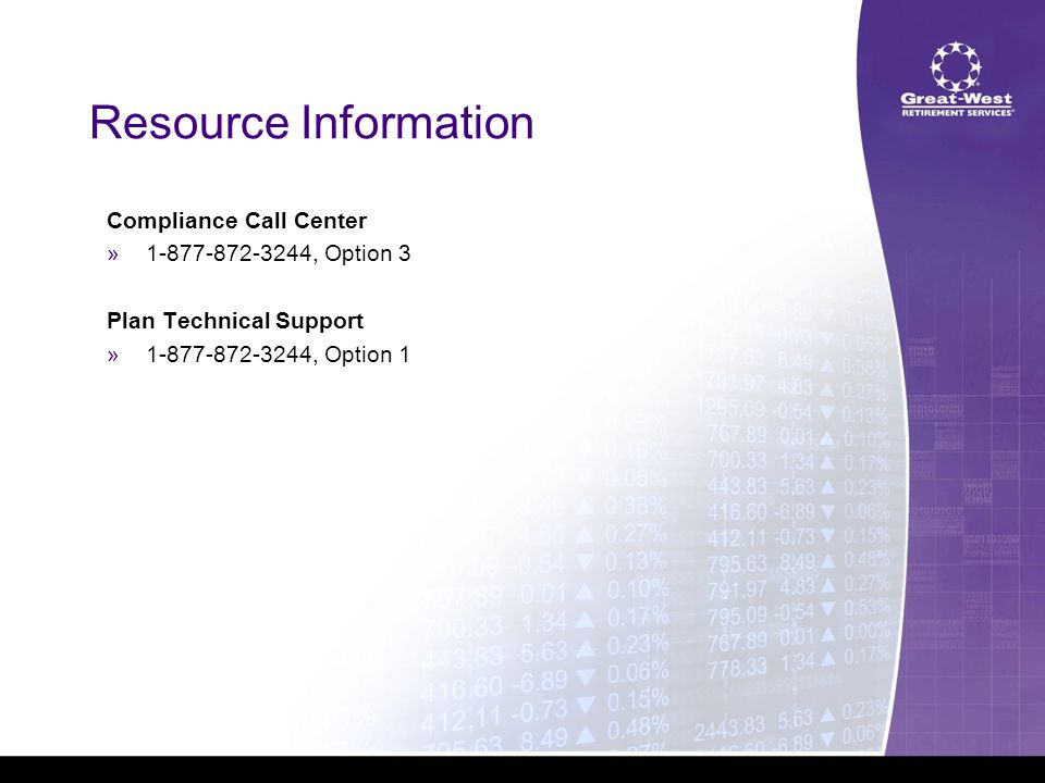 Resource Information Compliance Call Center »1-877-872-3244, Option 3 Plan Technical Support »1-877-872-3244, Option 1