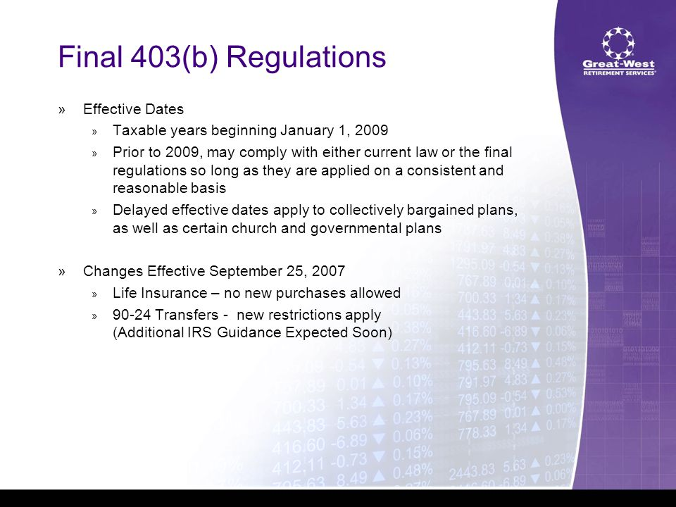 Final 403(b) Regulations  Effective Dates  Taxable years beginning January 1, 2009  Prior to 2009, may comply with either current law or the final regulations so long as they are applied on a consistent and reasonable basis  Delayed effective dates apply to collectively bargained plans, as well as certain church and governmental plans  Changes Effective September 25, 2007  Life Insurance – no new purchases allowed  90-24 Transfers - new restrictions apply (Additional IRS Guidance Expected Soon)