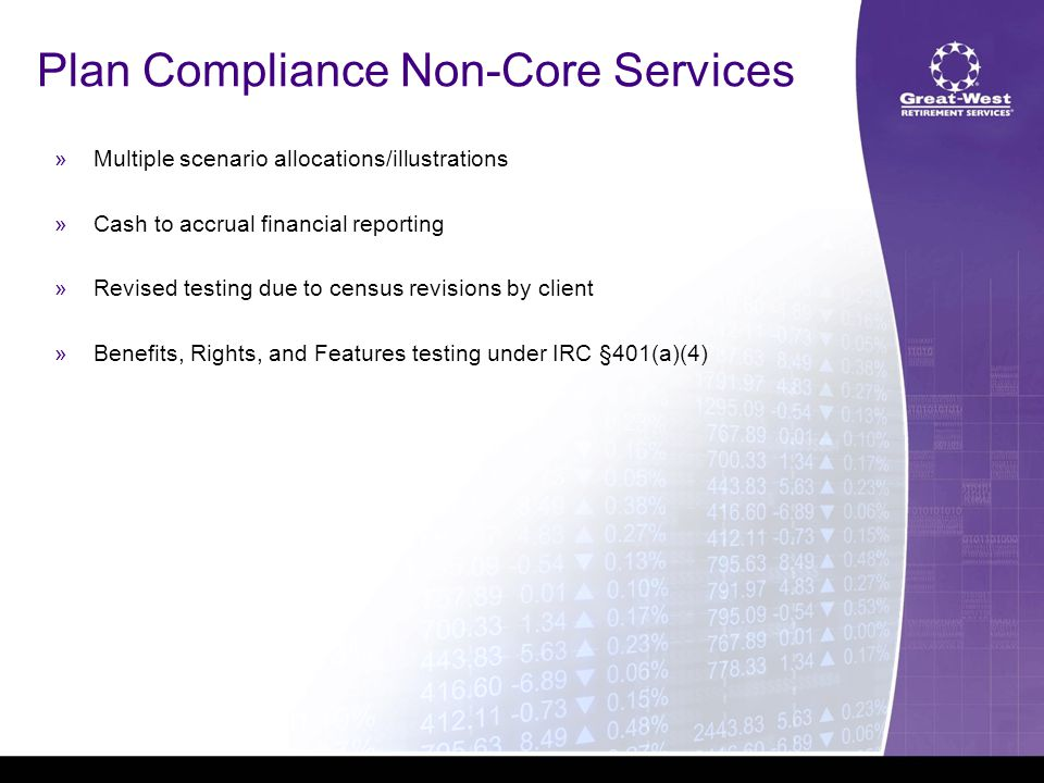 »Multiple scenario allocations/illustrations »Cash to accrual financial reporting »Revised testing due to census revisions by client »Benefits, Rights, and Features testing under IRC §401(a)(4) Plan Compliance Non-Core Services