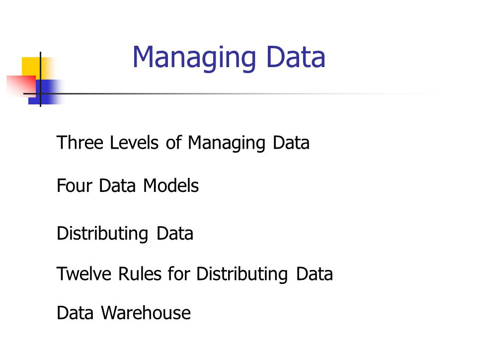 Managing Data Four Data Models Three Levels of Managing Data Distributing Data Twelve Rules for Distributing Data Data Warehouse