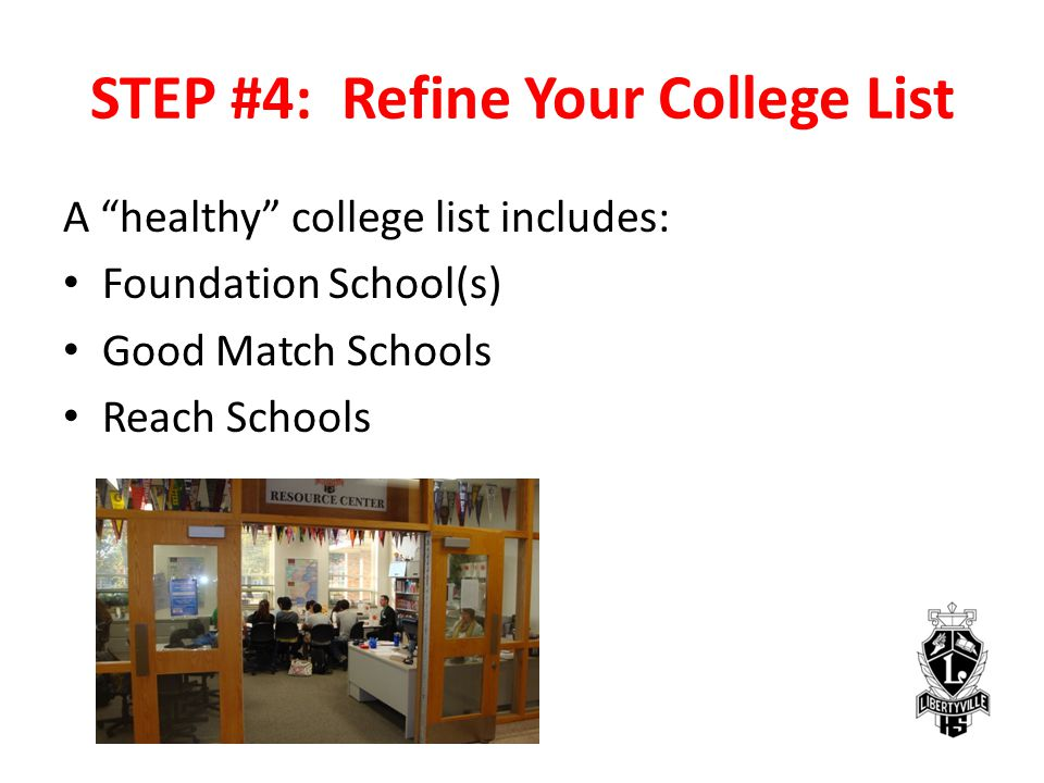STEP #4: Refine Your College List A healthy college list includes: Foundation School(s) Good Match Schools Reach Schools