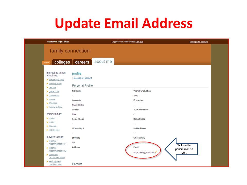 Update Email Address Click on the pencil icon to edit