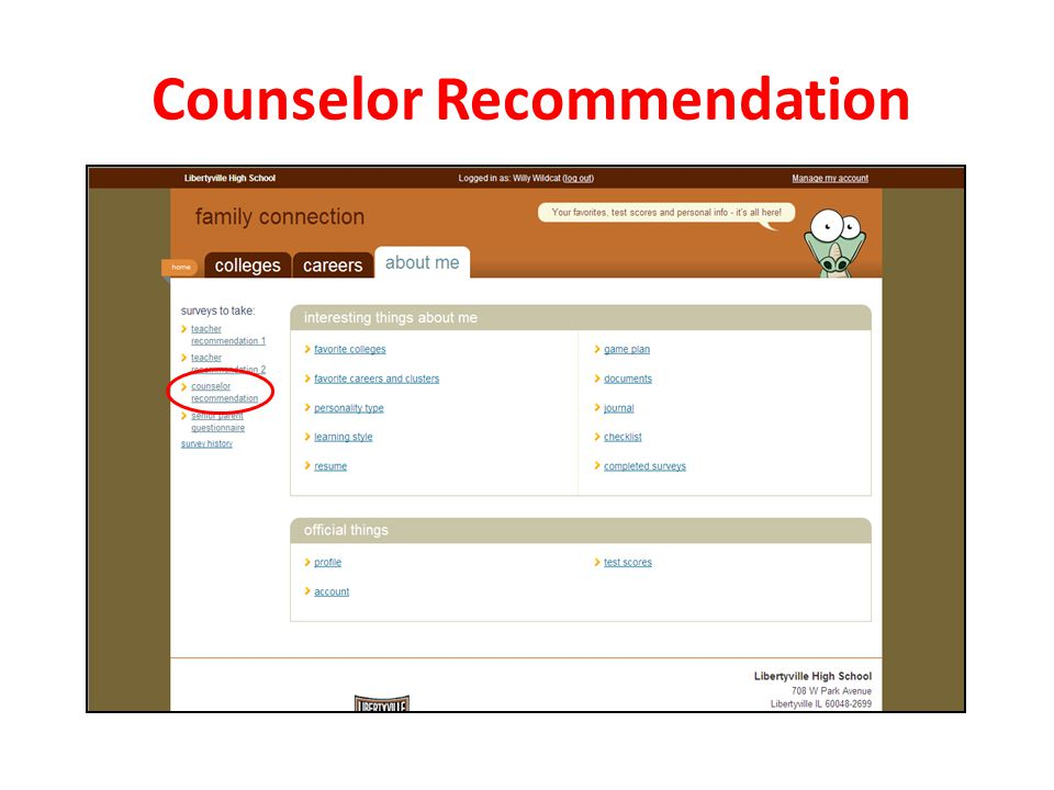 Counselor Recommendation