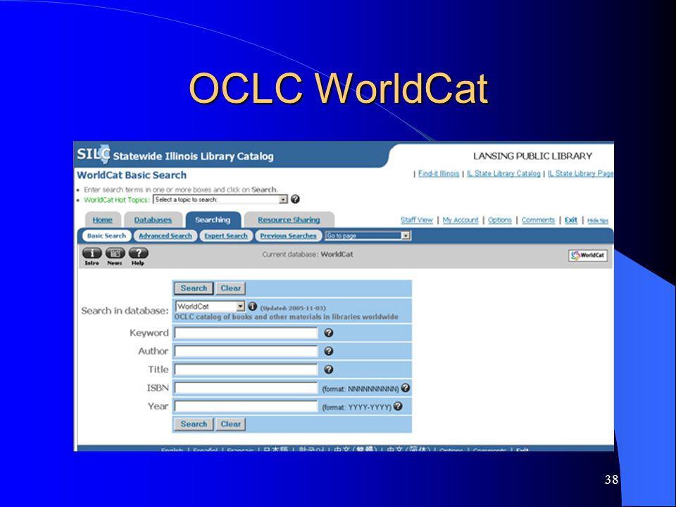 38 OCLC WorldCat