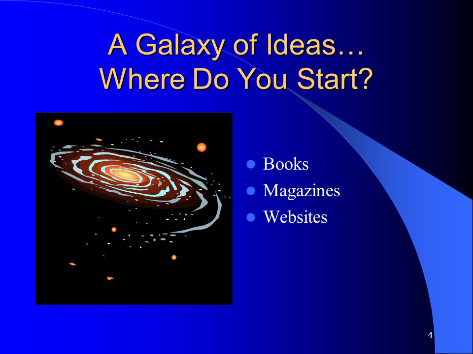 4 A Galaxy of Ideas… Where Do You Start Books Magazines Websites
