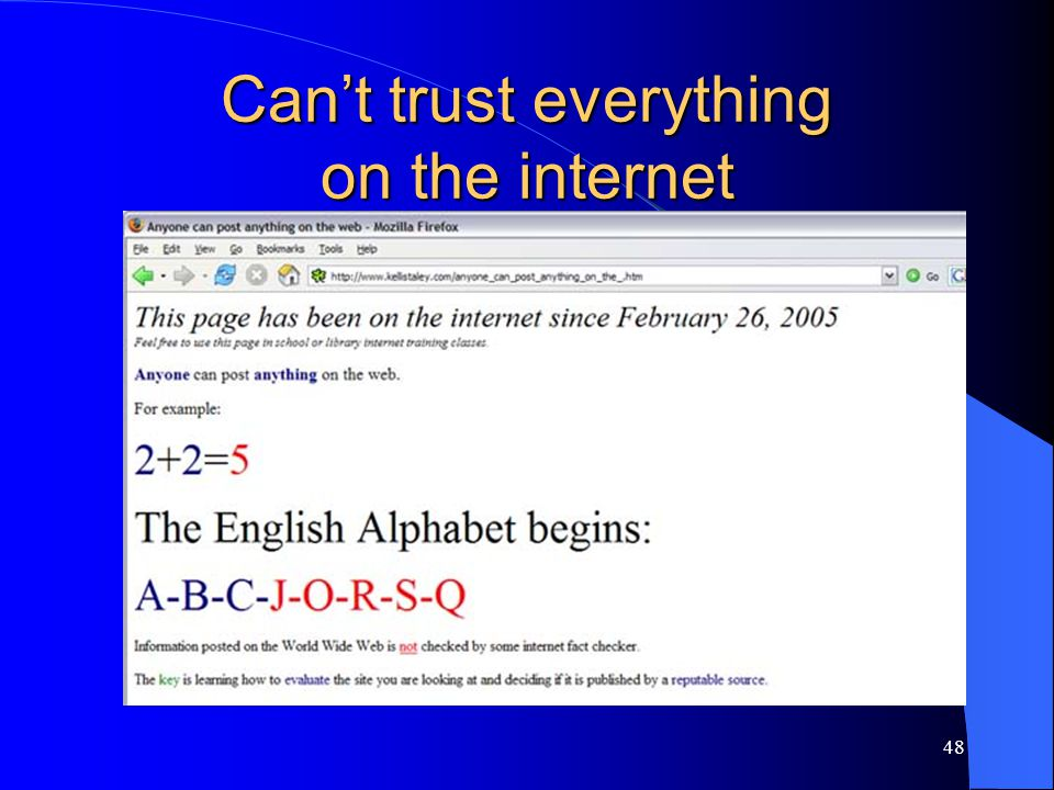 48 Can't trust everything on the internet
