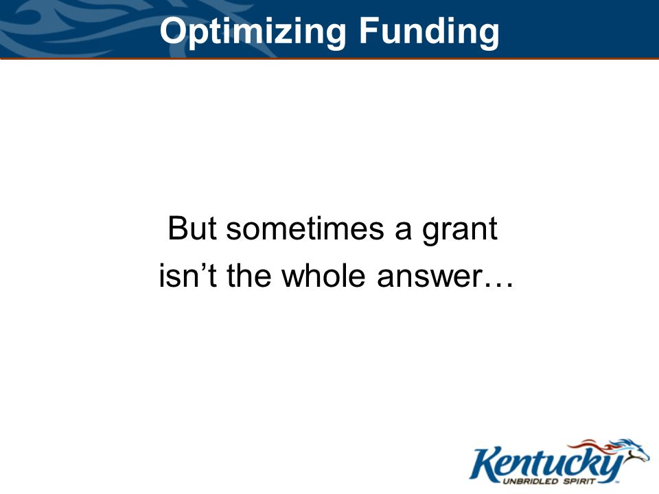 Optimizing Funding But sometimes a grant isn't the whole answer…