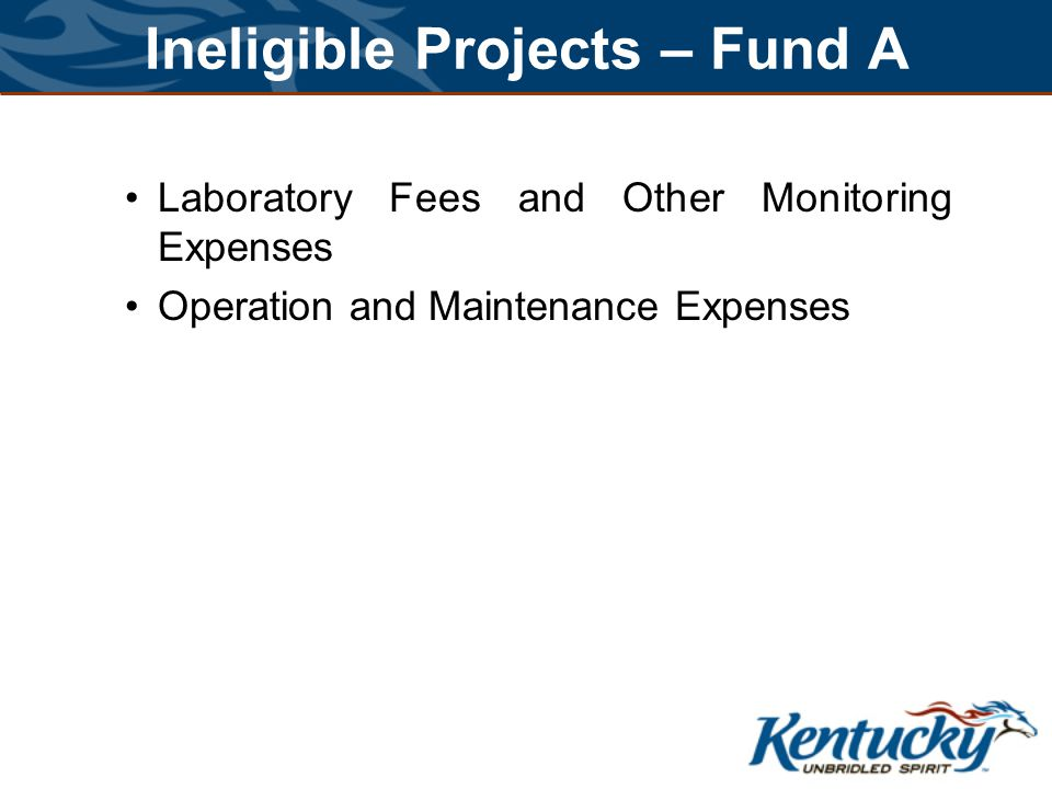 Ineligible Projects – Fund A Laboratory Fees and Other Monitoring Expenses Operation and Maintenance Expenses