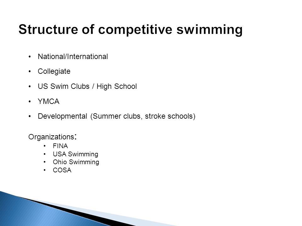 Collegiate National/International US Swim Clubs / High School YMCA Developmental (Summer clubs, stroke schools) Organizations : FINA USA Swimming Ohio Swimming COSA