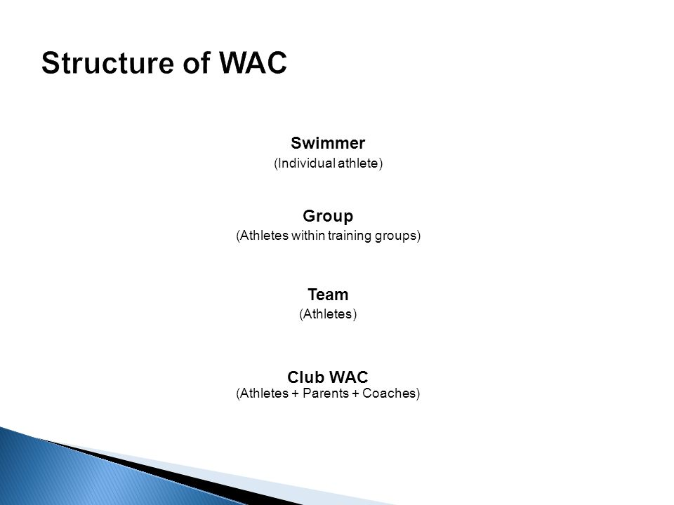 Club WAC (Athletes + Parents + Coaches) Team (Athletes) Group (Athletes within training groups) Swimmer (Individual athlete)