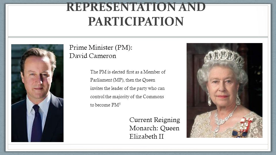 REPRESENTATION AND PARTICIPATION Prime Minister (PM): David Cameron Current Reigning Monarch: Queen Elizabeth II The PM is elected first as a Member of Parliament (MP), then the Queen invites the leader of the party who can control the majority of the Commons to become PM 5