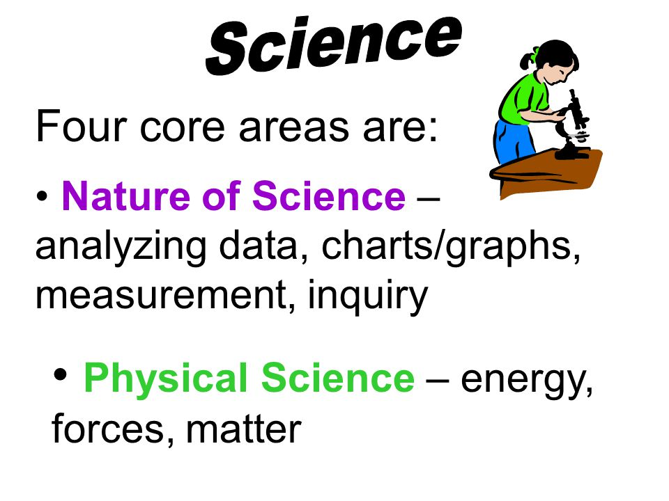 Nature of Science – analyzing data, charts/graphs, measurement, inquiry Four core areas are: Physical Science – energy, forces, matter