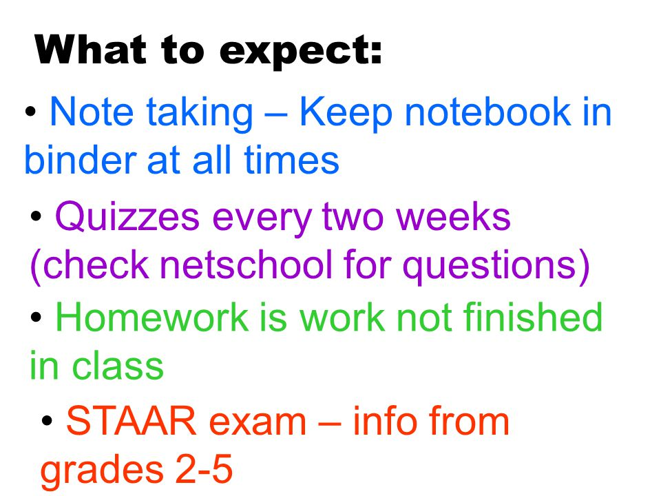 What to expect: Note taking – Keep notebook in binder at all times Quizzes every two weeks (check netschool for questions) Homework is work not finished in class STAAR exam – info from grades 2-5