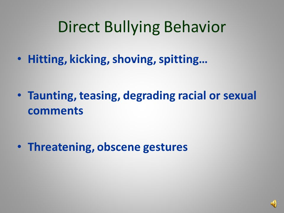 Indirect Bullying Behavior Getting another person to assault someone Spreading rumors Deliberate exclusion from a group or activity Cyber-bullying