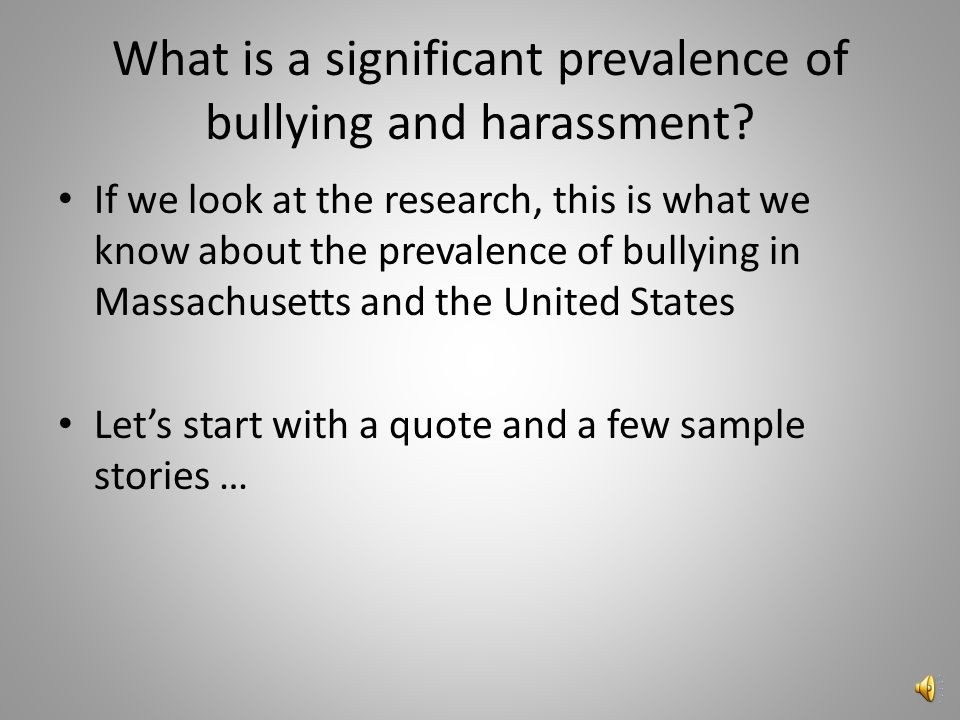 Prevalence of Bullying/Harassment According to the first 2001 nationally representative U.S.