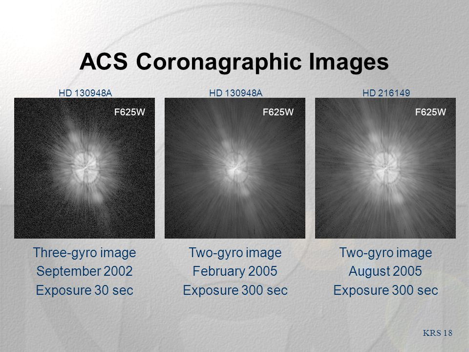 KRS 18 ACS Coronagraphic Images Two-gyro image August 2005 Exposure 300 sec Two-gyro image February 2005 Exposure 300 sec Three-gyro image September 2