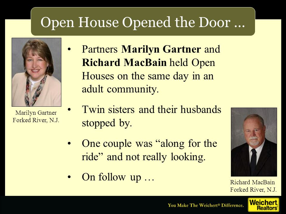 Open House Opened the Door … Partners Marilyn Gartner and Richard MacBain held Open Houses on the same day in an adult community.
