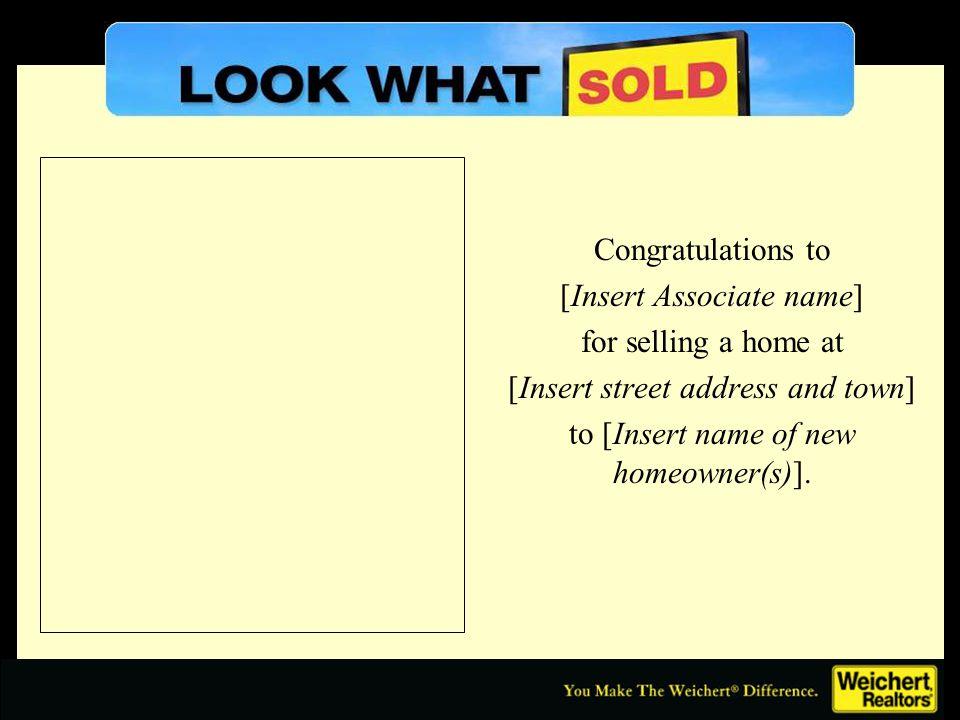 On the Market Insert property address, listing price, etc.