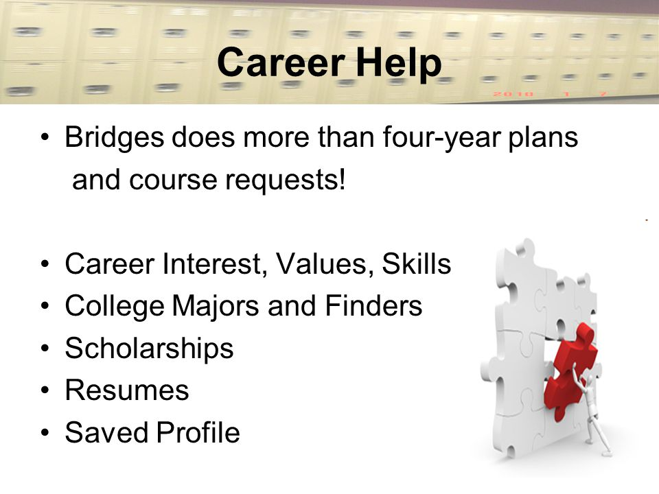 Career Help Bridges does more than four-year plans and course requests.