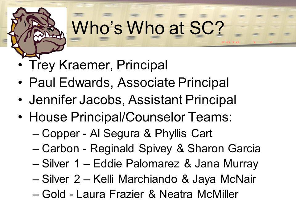 Who's Who at SC? Trey Kraemer, Principal Paul Edwards, Associate Principal Jennifer Jacobs, Assistant Principal House Principal/Counselor Teams: –Copp