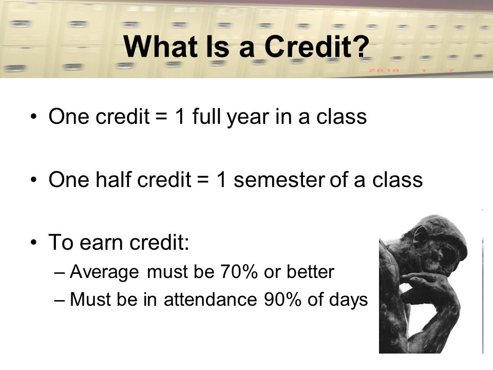 What Is a Credit? One credit = 1 full year in a class One half credit = 1 semester of a class To earn credit: –Average must be 70% or better –Must be