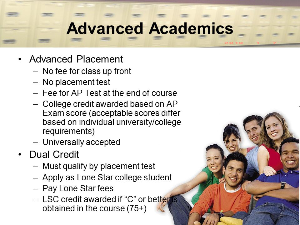 Advanced Academics Advanced Placement –No fee for class up front –No placement test –Fee for AP Test at the end of course –College credit awarded base