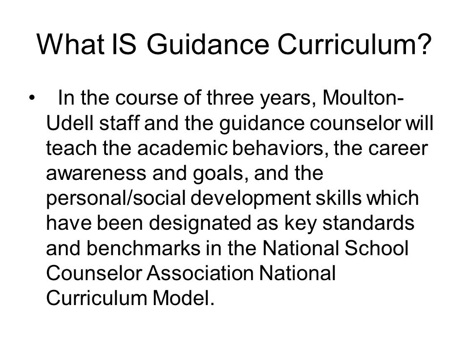 What IS Guidance Curriculum.
