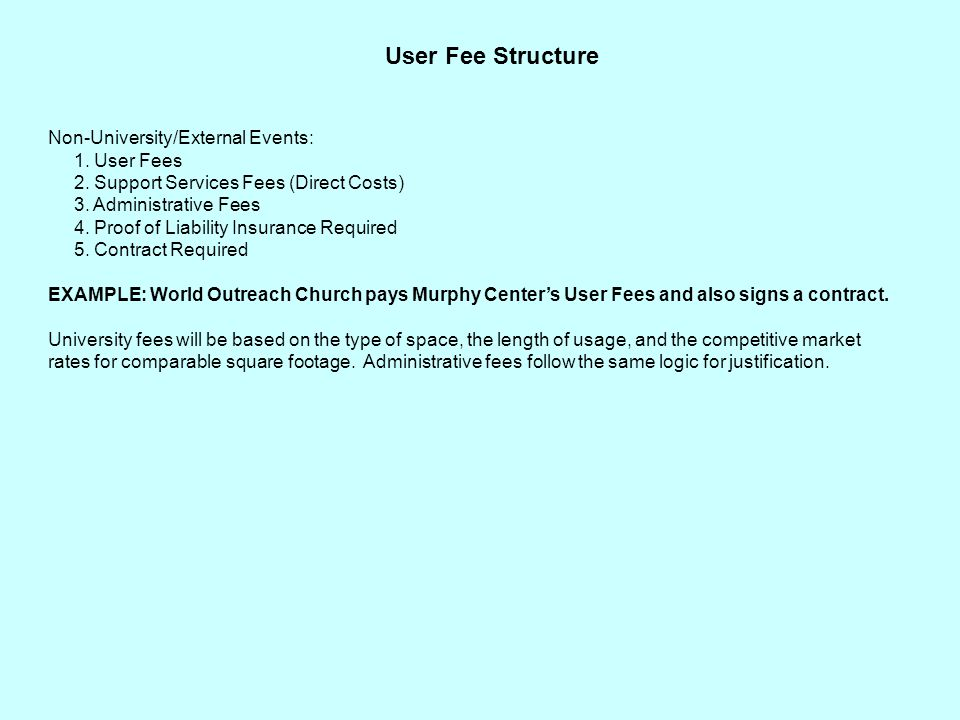 User Fee Structure Non-University/External Events: 1.