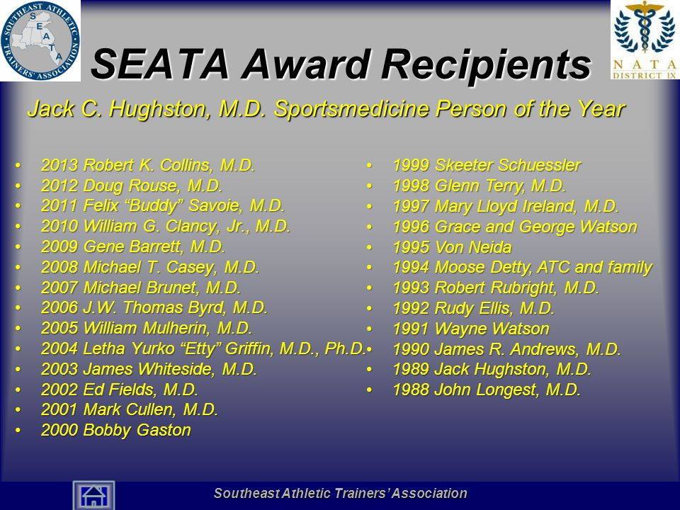 Southeast Athletic Trainers' Association Hall of Fame SEATA Award Recipients Jack C. Hughston, M.D. Sportsmedicine Person of the Year 2013 Robert K. C