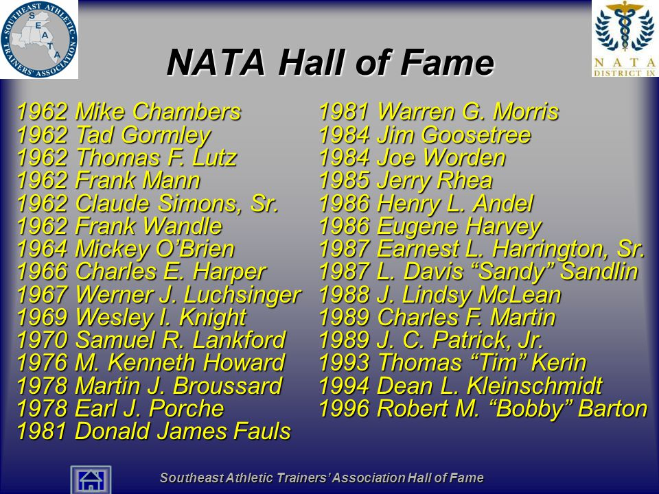 Southeast Athletic Trainers' Association Hall of Fame NATA Hall of Fame 1962 Mike Chambers 1962 Tad Gormley 1962 Thomas F. Lutz 1962 Frank Mann 1962 C