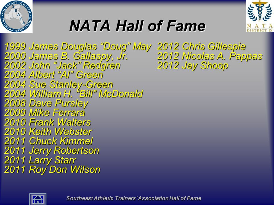 "Southeast Athletic Trainers' Association Hall of Fame NATA Hall of Fame 1999 James Douglas ""Doug"" May 2000 James B. Gallaspy, Jr. 2002 John ""Jack"" Red"