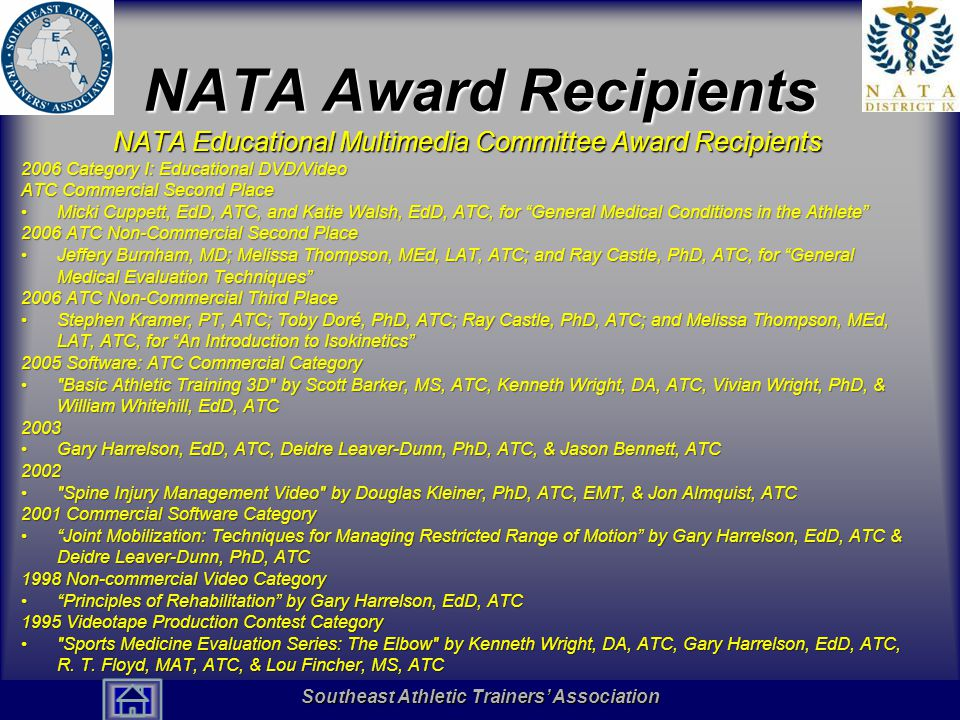 Southeast Athletic Trainers' Association Hall of Fame NATA Award Recipients NATA Educational Multimedia Committee Award Recipients 2006 Category I: Ed